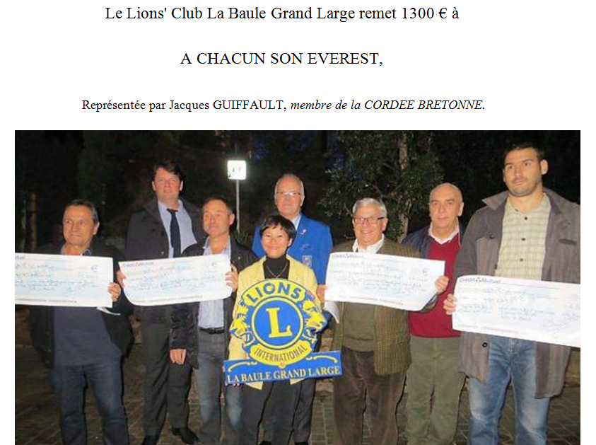 Le Lion's Club de La Baule Grand Large remet un chèque de 1300€ à A chacun son everest