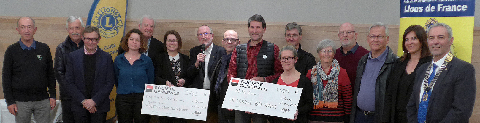 LA SECTION LISA DU LION'S CLUB DE RENNES CENTRE REMET UN CHÈQUE DE 1000 € A LA CORDÉE BRETONNE